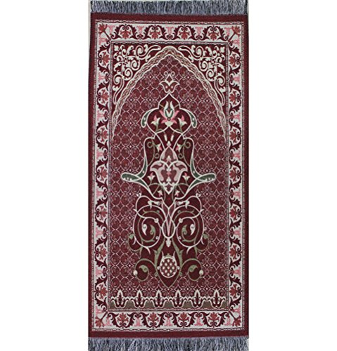Prayer Rug Dimensions: Child Size Muslim Prayer Mat Thin Woven Small Red