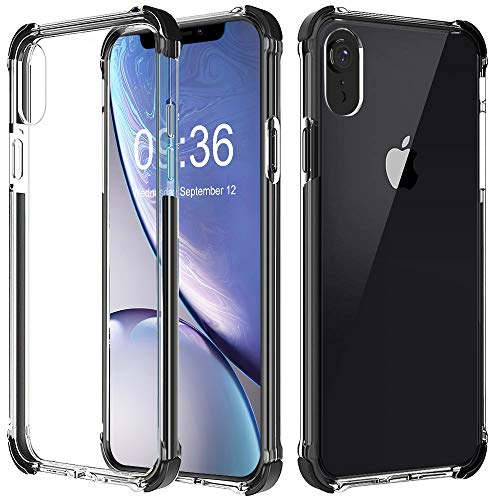(Vproof iPhone XR Case, Transparent Slim Protective Case Cover, Hybrid Hard PC Back & Reinforced TPU Bumper Frame with 4 Corner Drop Absorption Compatible for Apple iPhone XR 6.1Inch 2018 (Black Clear))