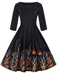 cedf0f901f1a Padaleks Women Swing Dress Fashion Plus Size 3/4 Sleeve Vintage Floral  Print Retro Slim