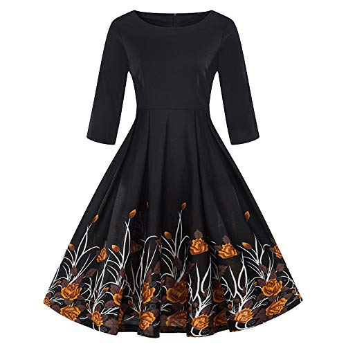 Rakkiss Fashion Womens Plus Size 3/4 Sleeve Vintage Dress Floral Print Retro Swing Dress Orange