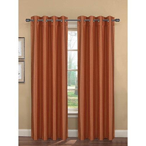 Bella Luna Becca Faux Silk Room Darkening Extra Wide 54 x 84 in. Grommet Curtain Panel, Terracotta ()