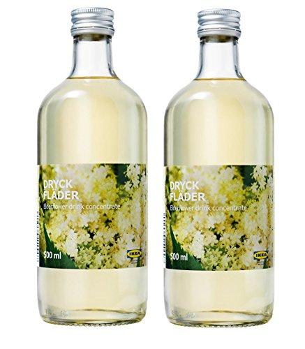 IKEA Elderflower Syrup - Sweet European Elderflower Fruit Juice - Drink Concentrate, 16.9 oz - Best For Mixing With Water, 2 Pack ()