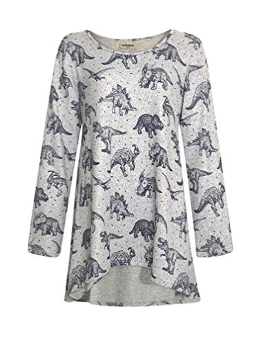 LaVieLente Ultra Soft Long Sleeve Jersey Knit top with hi-Low Design and Oversized fit Available in Bird and twig Print (Dinosaur, X-Small/Small)