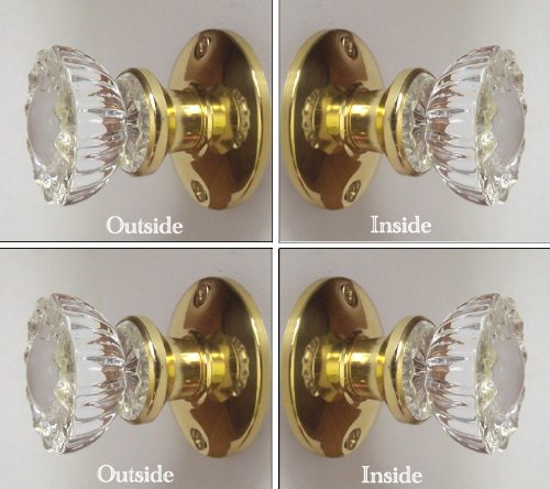 Two Sets - Perfect Reproduction of the 1920 Depression Crystal Glass FRENCH DOOR Knob Sets - Each lot contains all the hardware for knobs on both sides of Two French Door. (Perfect Reproduction)