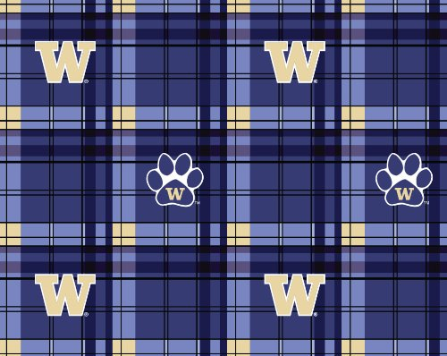 WASHINGTON FLEECE FABRIC-WASHINGTON HUSKIES PLAID FLEECE FABRIC-SOLD BY THE (Washington Fleece Throw)