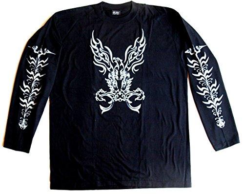 Langarmshirt TATTOO Größe L Baumwolle schwarz beidseitig und beide Ärmel Siebdruck