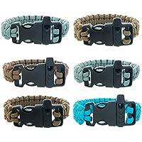 FROG SAC Paracord Bracelets Emergency Whistle Buckles 6 PCs Pack - Survival Buckle Bracelet Set Men Boys Women Girls - Camping, Hiking Accessories - Great Party Favors (Solid)