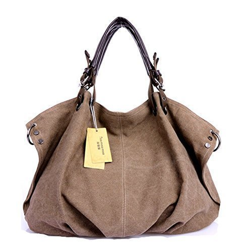 Price comparison product image Zhao&ans Womens Classy Look Canvas Oversized Vintage Hobo Simple Style Top Handle Genuine Leather Tote Handbag Shoulder Weekender Crossbody Bag - Coffee