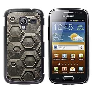 TopCaseStore / la caja del caucho duro de la cubierta de protección de la piel - Abstract Grey Art Pattern Hexagon - Samsung Galaxy Ace 2 I8160 Ace II X S7560M
