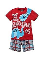 Coralup Little Boys Dinosaur Short Sleeve Set 2Pcs,2T-7T,Red