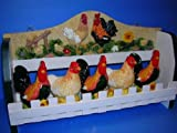 ROOSTER 3-D Wood Spice Rack & 5 Jars Set Roosters/Hen NEW