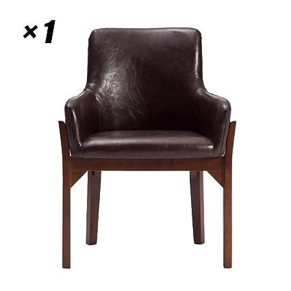 Sillones de madera Cómodo asiento acolchado de PU Silla de ...