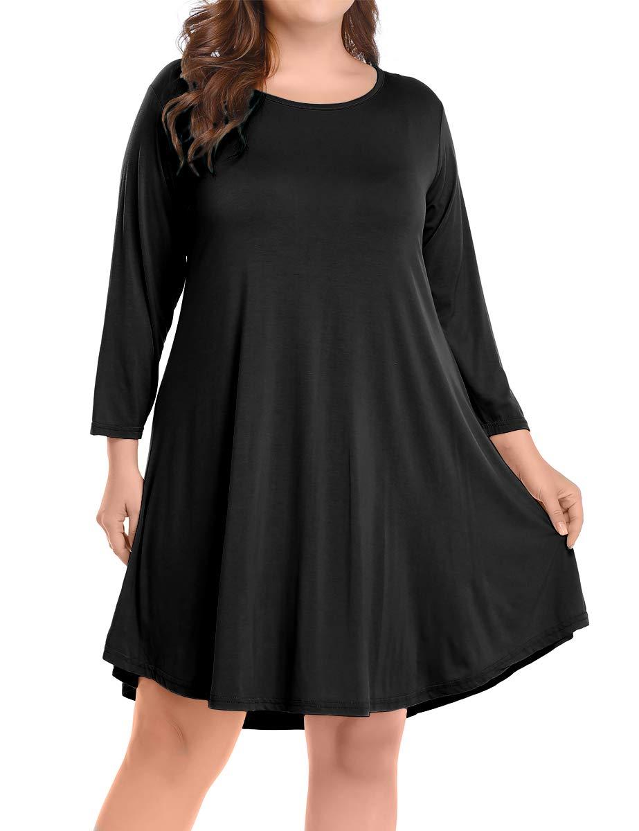 BELAROI Women's Casual Flare Plain Simple 3/4 Sleeve T-Shirt Loose Dress (3X, Black) by BELAROI