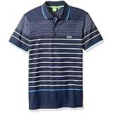 BOSS Green Men's Paule 2 Striped Short Sleeve Polo Shirt, Dark Blue, XXL
