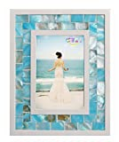 GIFTME 5 Picture Frame 4x6 Mother of Pearl Photo Frame 4 by 6,Tabletop Mosaic Picture Frame (4x6 inch, Blue)