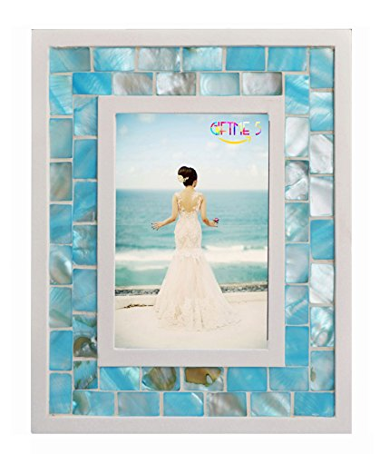GIFTME 5 Picture Frame 4x6 Mother of Pearl Photo Frame 4 by 6,Tabletop Mosaic Picture Frame (4x6 inch, Blue) by GIFTME 5