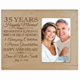 Personalized thirty fifth year anniversary gift for her him couple Custom Engraved wedding gift for husband wife girlfriend boyfriend photo frame holds 4x6 photo by LifeSong Milestones (maple)
