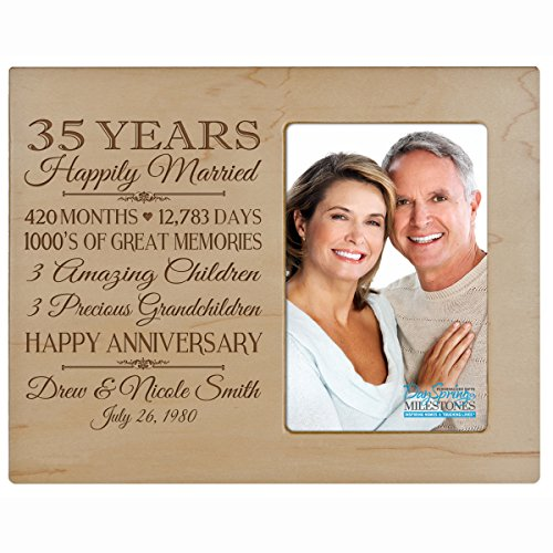 Personalized thirty fifth year anniversary gift for her him couple Custom Engraved wedding gift for husband wife girlfriend boyfriend photo frame holds 4x6 photo by LifeSong Milestones (maple) by LifeSong Milestones