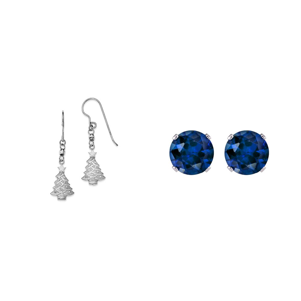 Sterling Silver Christmas Tree Dangle Earrings and a pair of Blue 4mm CZ Stud Earrings