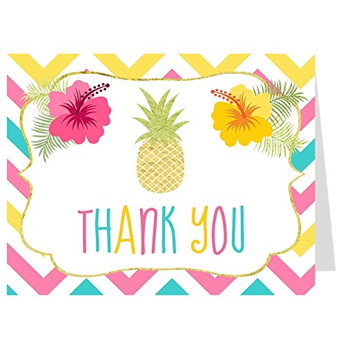 - Tropical Thank You Cards, Aloha Luau Hawaii Pineapple Hawaiian Flowers Chevron Stripes Pink Turquoise Yellow Gold Mahalo BBQ Barbeque Cookout Picnic (50 Pack)