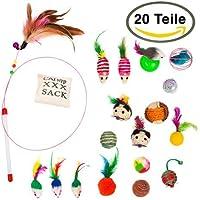 keekoo Premium Katzen Spielzeug- 20er Set - Katzenangel - Katzenball - Katzenmaus - mit Praktischem Beutel
