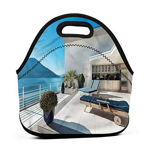 Convenient Lunch Box Tote Bag Modern,Apartment with Veranda Ocean,daycare lunch bag for toddler