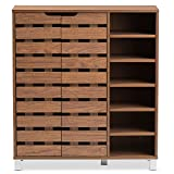 Baxton Studio Eloise Modern & Contemporary Beech Wood 2 Door Shoe Cabinet with Open Shelves, Walnut