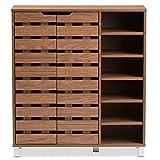 shoe organizer cabinet Baxton Studio Eloise Modern & Contemporary Beech Wood 2 Door Shoe Cabinet with Open Shelves, Walnut