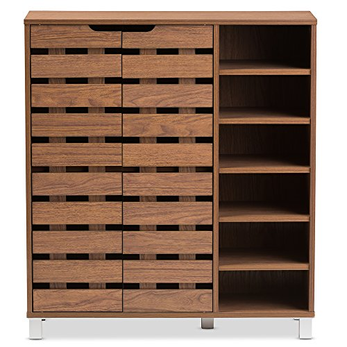 - Baxton Studio Eloise Modern & Contemporary Beech Wood 2 Door Shoe Cabinet with Open Shelves, Walnut