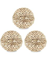 SunGrow 3 Rabbit Rope Balls - Edible Teething Grass Toy - Bite-Resistant For Nibbling, Foraging, Gnawing - Keeps Bunnys Teeth Trimmed - Suitable For Guinea Pigs, Chinchillas & Other Pocket Pets