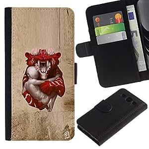 NEECELL GIFT forCITY // Billetera de cuero Caso Cubierta de protección Carcasa / Leather Wallet Case for Samsung Galaxy S3 III I9300 // Tigre de bebé