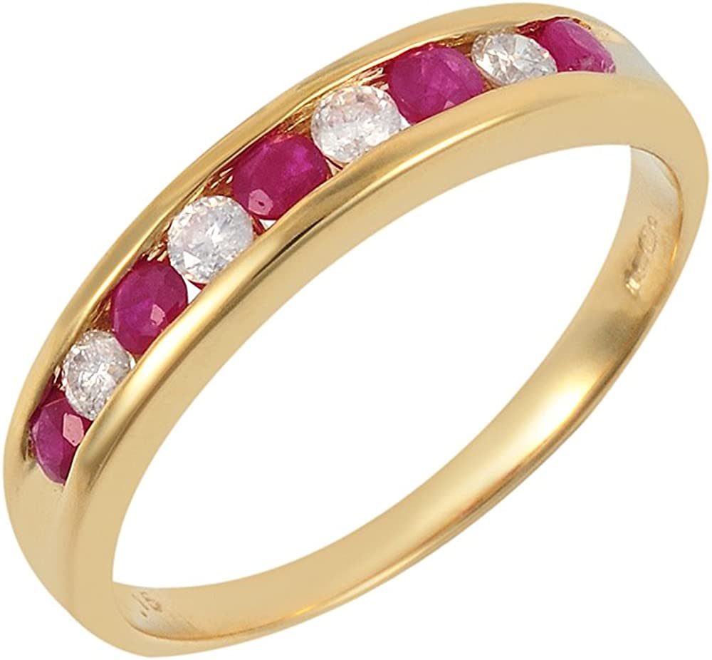 Bague - 108R2496-09/9AM - O - Anillo de mujer de oro amarillo (9k) con diamantes y rubís