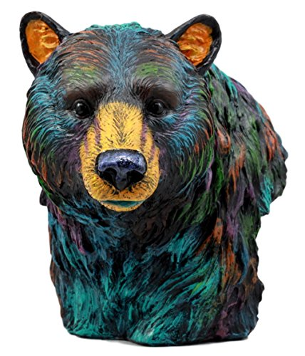 (Atlantic Collectibles Wild & Free Colorful North American Brown Bear Bust Figurine 7