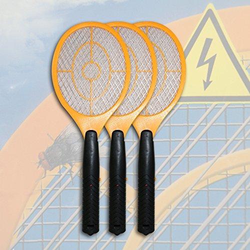 3 x Elektrische Gelb Fliegenklatsche Insektenvernichter Fliegenschläger