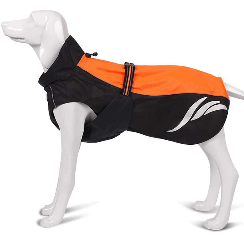 orange 70cm orange 70cm Pessica Outdoor pet waterproof raincoat, dog jacket, comfortable and breathable lining, 3M reflective [multiple colors and sizes],orange,70cm