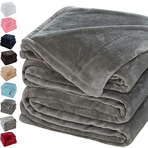 lanket Soft Warm Fuzzy Plush King(104-Inch-by-90-Inch) Lightweight Cozy Bed Couch Blanket,Easy Care, Grey ()