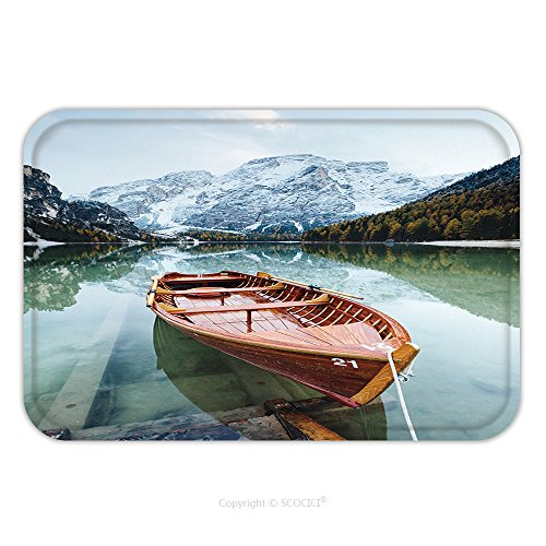 Flannel Microfiber Non-slip Rubber Backing Soft Absorbent Doormat Mat Rug Carpet Great Scene The Alpine Lake Braies Pragser Wildsee Location Place Dolomiti National Park Fanes 513842533 for - Place Ford Park