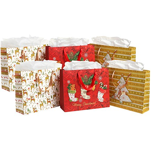 MyGift Colorful Festive Holidays Christmas Gift Bags and Tissues (Assortment of 6 - Gold, White, Red)