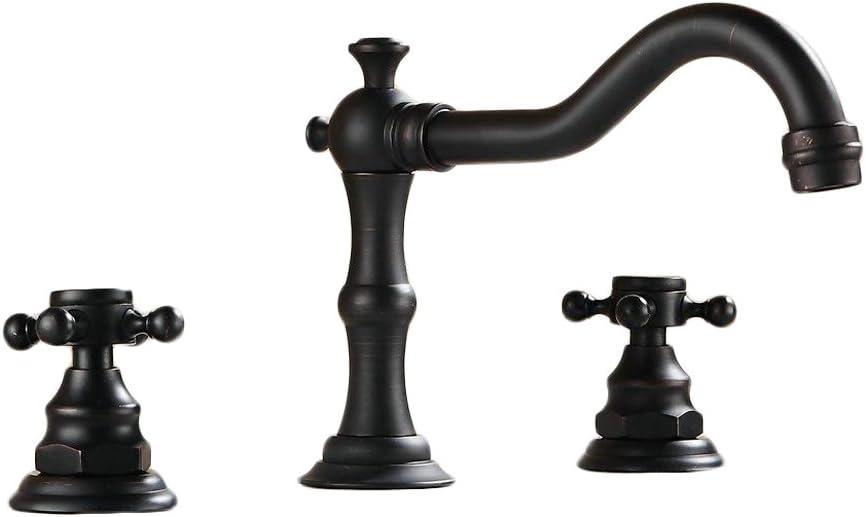 Bronze huil/é Noir Mitigeur Robinets de lavabo M/élangeur trois trous double poign/ée Largement de salle de bain Robinets de lavabo