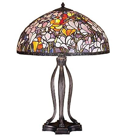 Amazon.com: Lámpara de mesa de estilo Tiffany vidrieras Luz ...