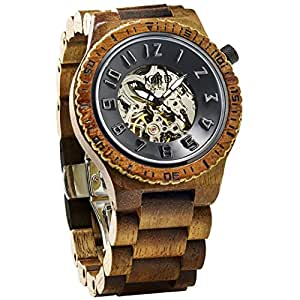 JORD Wooden Watches for Men and Women - Dover Series Skeleton Automatic / Wood Watch Band / Wood Bezel / Self Winding Movement - Includes Wood Watch Box (Koa & Black)