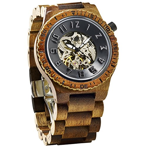 JORD Wooden Watches for Men - Dover Series Skeleton Automatic / Wood Watch Band / Wood Bezel / Self Winding Movement - Includes Wood Watch Box (Koa & Black) by Jord