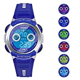 Boys Watches for Kids Sports Running Riding Swimming Climbing Durable Comfortable Multifunction 7 Colors Light LED Waterproof Digital Watch Gift for Boys Age 4-12 482bl