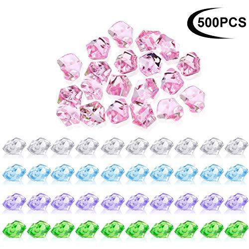Zonon 500 Pieces Acrylic Ice Rocks Crystals Treasure Gems for Table Scatters, Vase Fillers,0.5 inch Fake Diamonds Ice Cubes Gems for Home Decoration,Wedding Display, Fish Tank