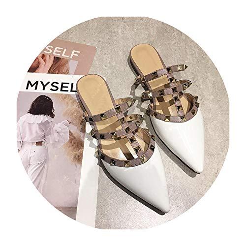 Super lucky shop-shoes Women Flat Slippers Slip On Mules Luxury Rivet T-Strap Slides Slip On,White,37