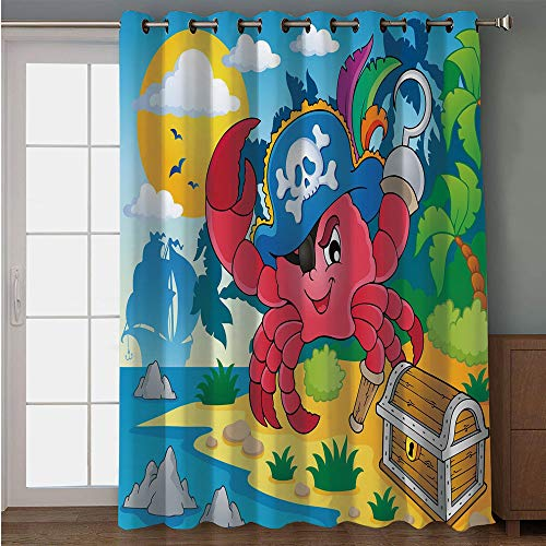 Leg Peg Fox (iPrint Blackout Patio Door Curtain,Pirate,Cute Cartoon Crab with Eye Patch Pirate Hat Hook Pegleg Deserted Island Coast Jungle Decorative,Multicolor,for Sliding & Patio Doors, 102