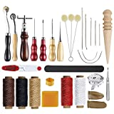 Arts & Crafts : Caydo 25 Pieces Leather Craft Hand Tool Including Stitching Groover Basic Hand Stitching Sewing Tool Set Saddle Groover Leather Craft DIY Tool
