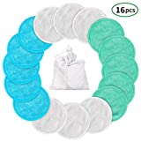 Make Facial Cleansing Wipes - Makeup Remover Pads Reusable 16 Packs Bamboo Facial Toner Pads Cleansing Wipe Cloth Chemical Free With Laundry Bag, ProCIV Washable Clean Skin Care Round Pads Cleansing Towel Wipes 3 Color (3.15 inch)