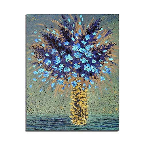 Renaiss 12x20 Inches Flower Scenery Oil Painting Blue Flower in Yellow Vase Canvas Picture Art Prints Frameless Rolled Package Home Wall Decor Living Room Kitchen Cafe Office Bedroom Artworks Poster (Blue Yellow Vase)