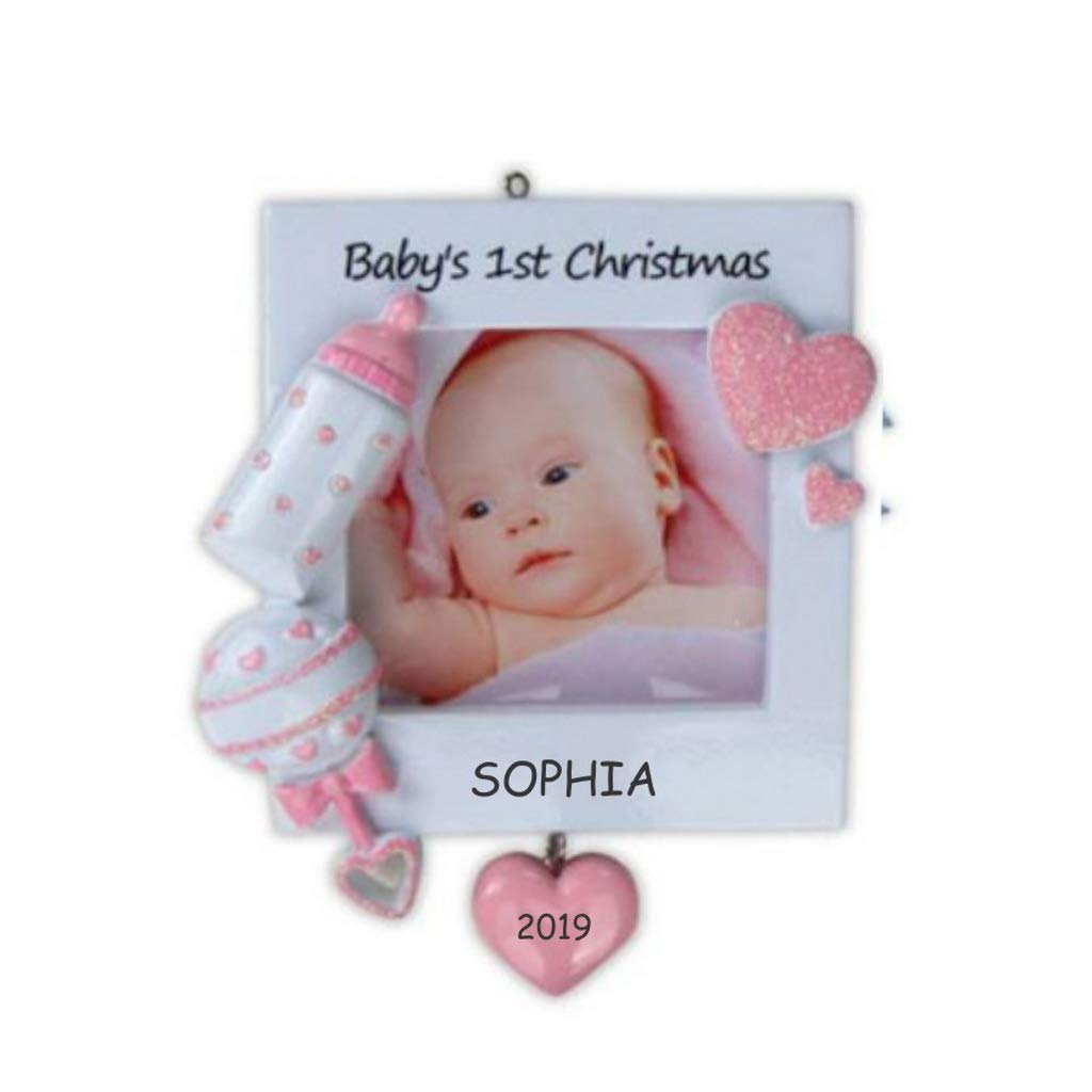 Personalized Photo Frame Baby Christmas Ornament Pink